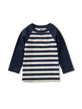 Long Sleeve Baby Rash Guard, Swim Stripe in Whale Blue
