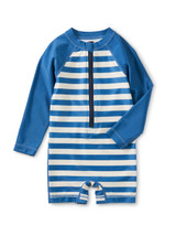 Rash Guard Baby Swim Suit, Swim Stripe in Mariner