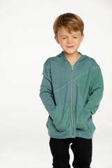 Boys Linen French Terry Blocked Reverse Panel Long Sleeve Zip Hoodie, Arbor
