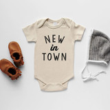 Cream New In Town Organic Baby Bodysuit