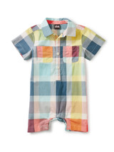 Plaid Button Baby Romper, Sintra Plaid