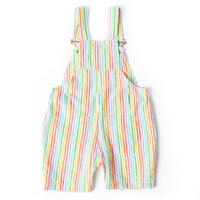 Rainbow Seersucker Short Overalls