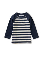 Long Sleeve Baby Rash Guard, Swim Stripe in Whale Blue