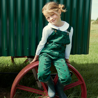 Green Corduroy Dungarees with Black Dots