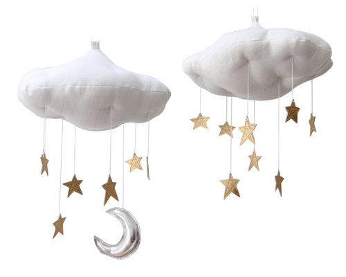 Luxe Gold Star Cloud Mobile, Silver Leather Moon