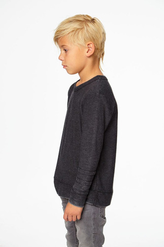 Cozy Knit L/S Crew Neck Pullover W/ Strappings, Black