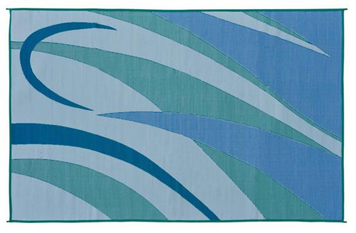 Reversible Patio Mat, Green/Blue Graphic Design - Size: 8' x 20'