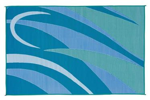 Reversible Patio Mat, Green/Blue Graphic Design - Size: 8' x 16'