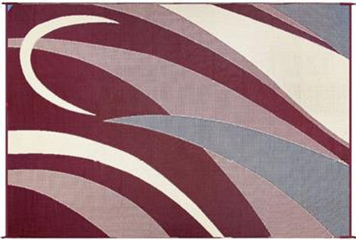 Reversible Patio Mat, Burgundy/Black Graphic Design - Size: 8' x 12'