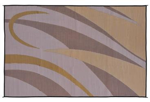 Reversible Patio Mat, Brown/Gold Graphic Design - Size: 8' x 16'