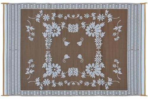 Reversible Patio Mat, Brown Floral - Size: 6' x 9'