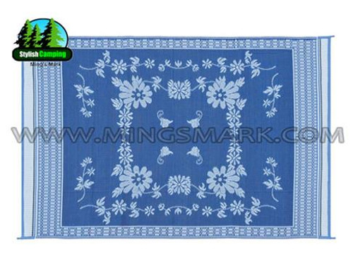 Reversible Patio Mat, Blue Floral - Size: 9' x 12'