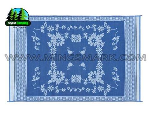 Reversible Patio Mat, Blue Floral - Size: 9' x 12'