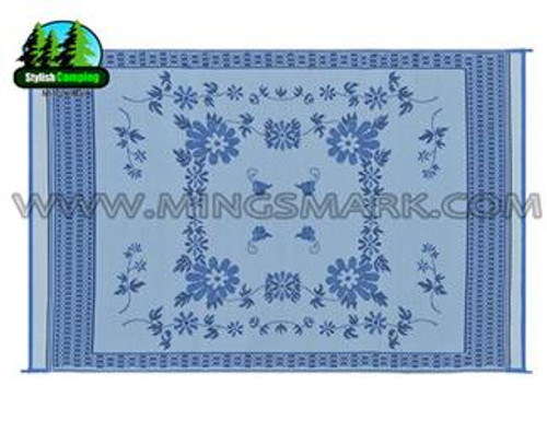Reversible Patio Mat, Blue Floral - 6' x 9'
