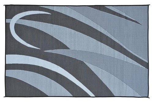 Reversible Patio Mat, Black/Silver Swirl Graphic Design - Size: 8' x 16'