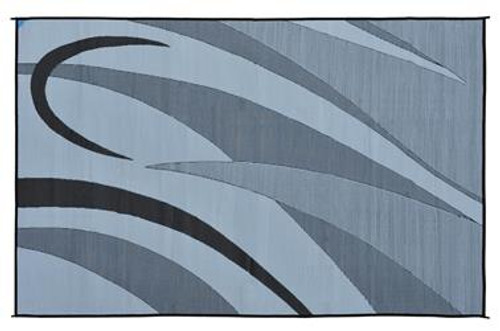 Reversible Patio Mat, Black/Silver Swirl Graphic Design - Size: 8' x 12'