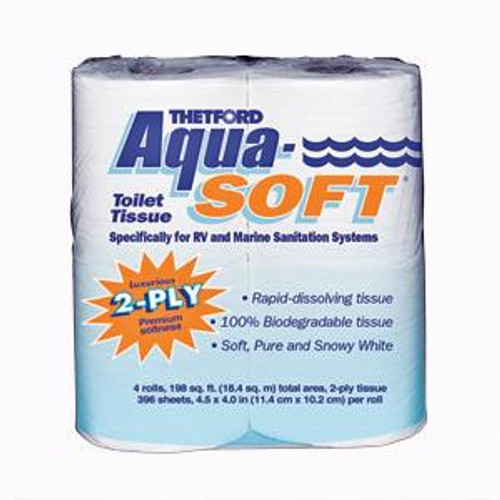 Thetford Aqua-Soft 2-ply RV/Marine Toilet Tissue, 4-pack