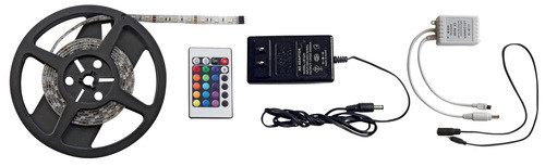 RGB 6.5' LED Strip Light Kit, IR Remote