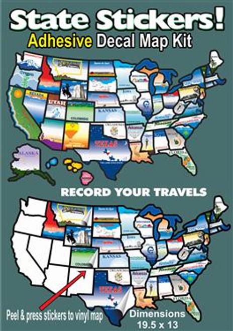 USA State Stickers Map, Self Adhesive