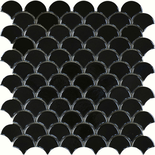 BLACK GLOSS FISHSCALE MOSAIC