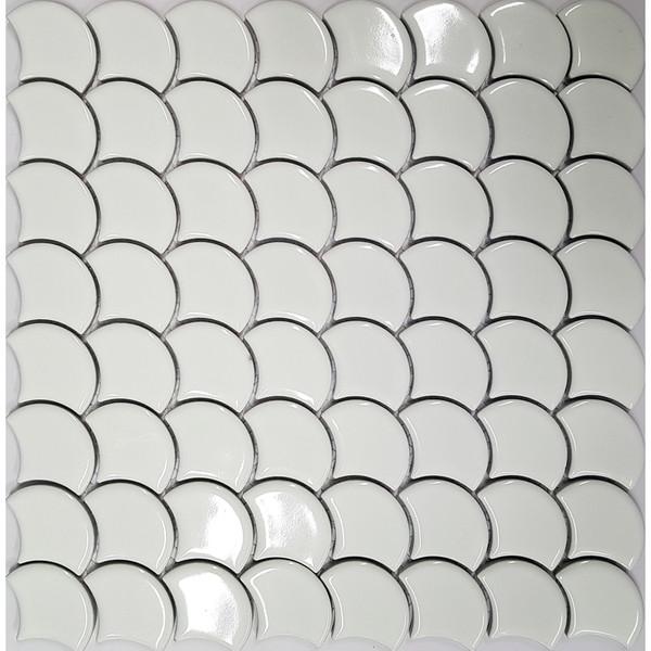 White Gloss Fishscale Mosaic
