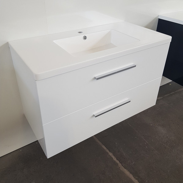 White Gloss Bathroom Vanity 900mm