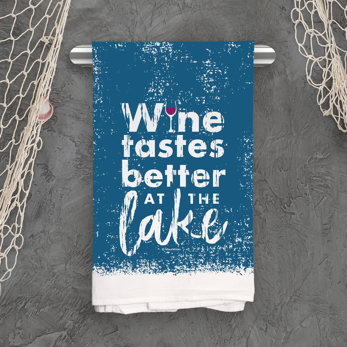 Wine Tastes Better Lake Kitchen Towel
