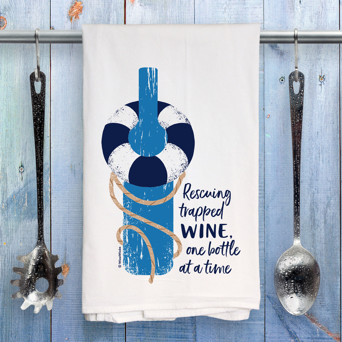 Rescuing Trapped Wine Kitchen Towel