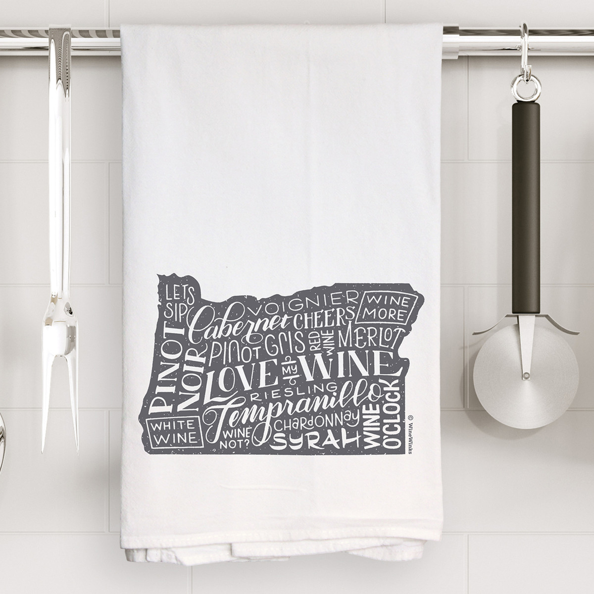 Oregon Love My Wine Kitchen Towel