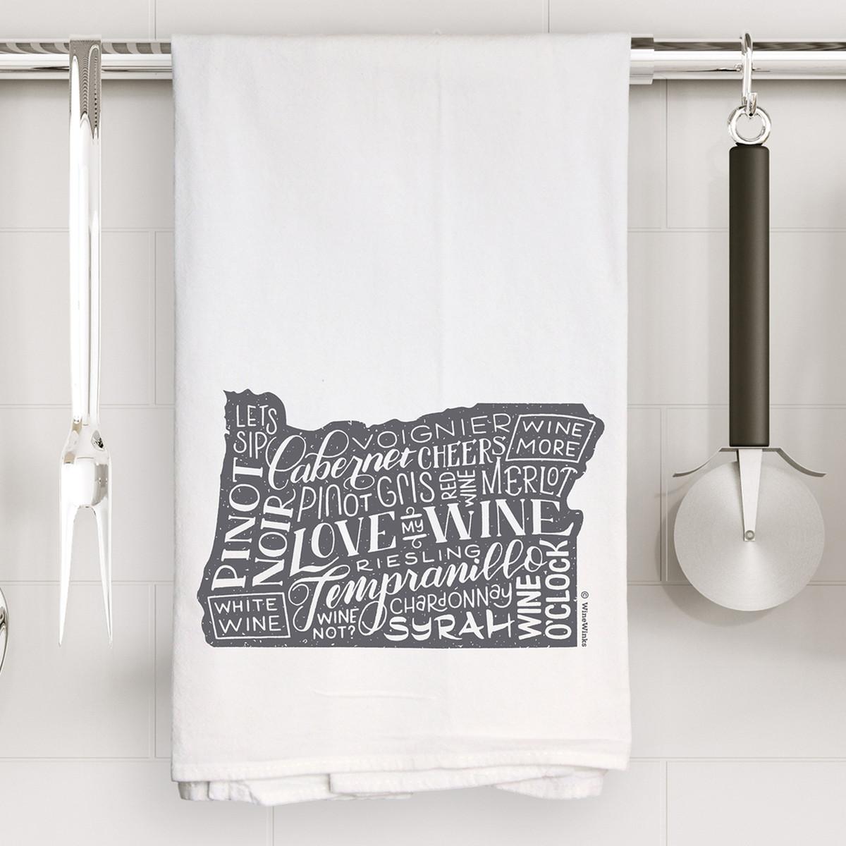 Oregon Love My Wine Kitchen Towel
