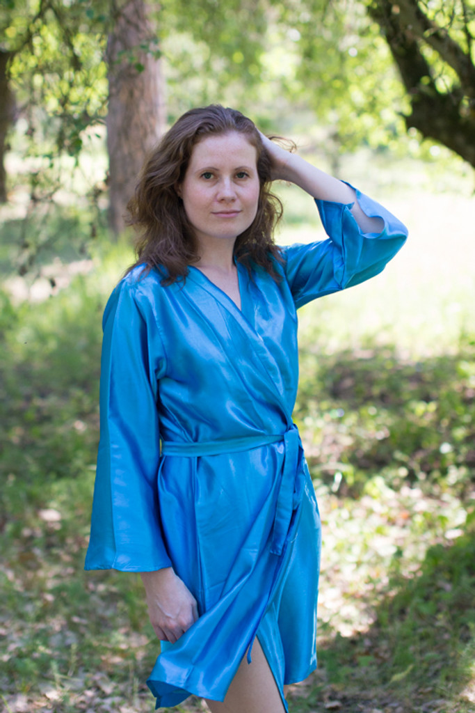 Satin silk Kimono bridesmaids robes- Solid  Blue Robes