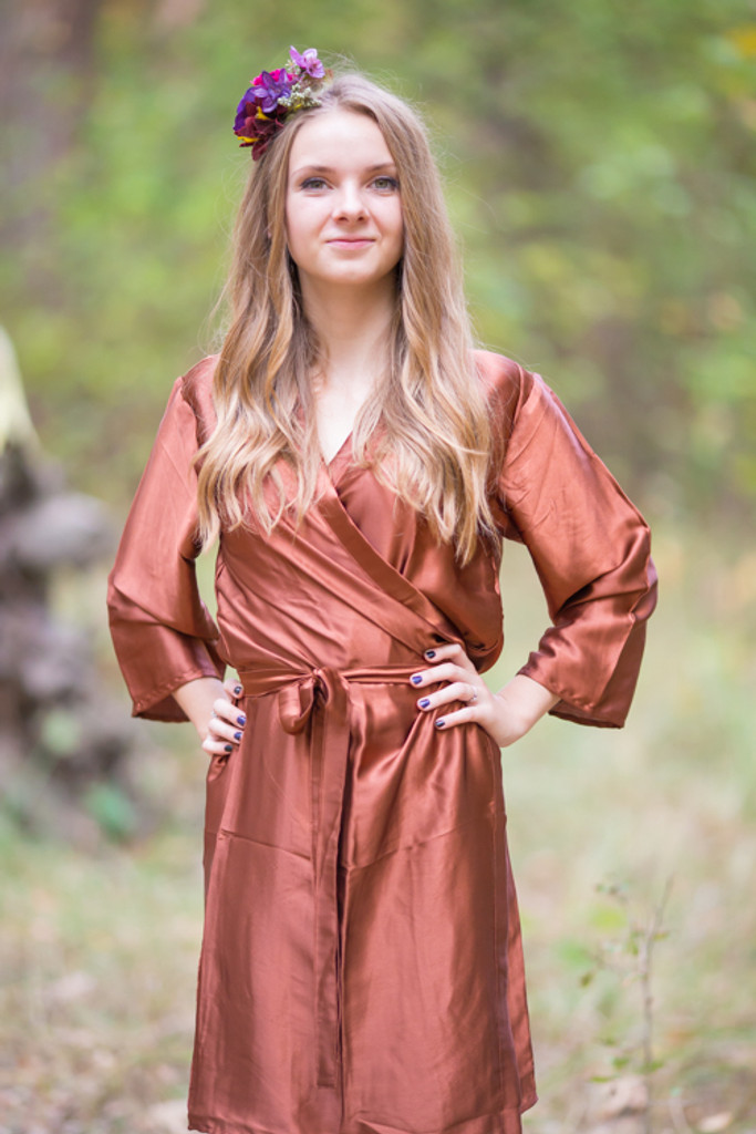Plain Silk Robes for bridesmaids - Solid Copper Color   Getting Ready Bridal Robes