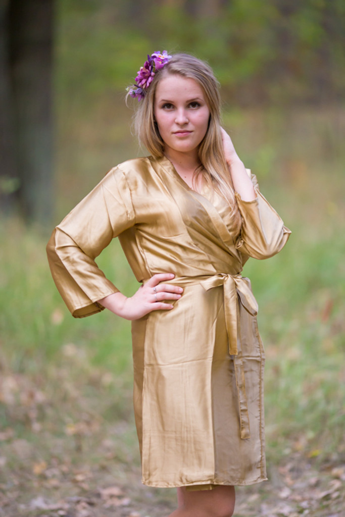 Plain Silk Robes for bridesmaids - Solid Gold Color   Getting Ready Bridal Robes