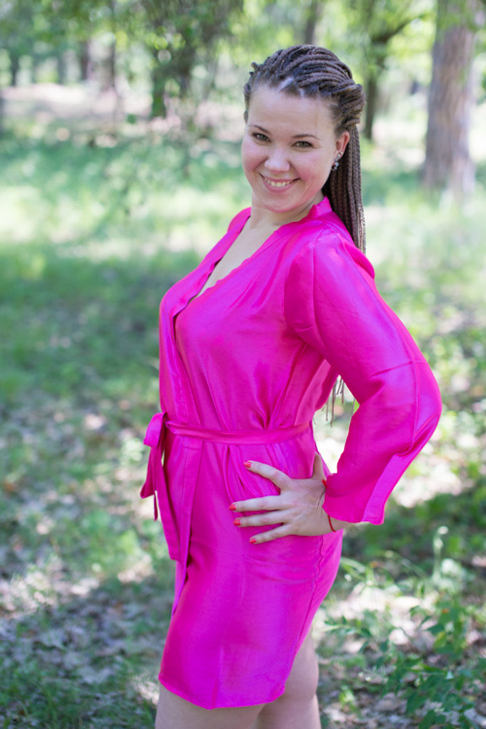 Plain Silk Robes for bridesmaids - Solid Magenta Color | Getting Ready Bridal Robes