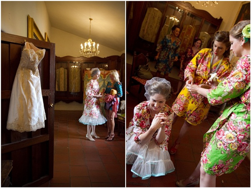 Mismatched Rosy Red Posy9 Robes in bright tones