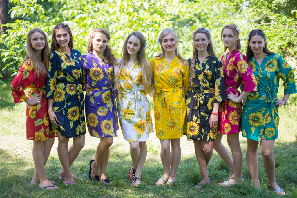 Mismatched Sunflower Sweet Robes in bright tones