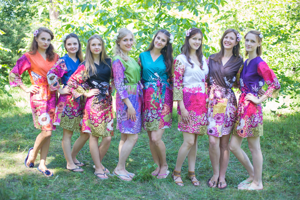 Mismatched Vibrant Foliage Robes in bright tones