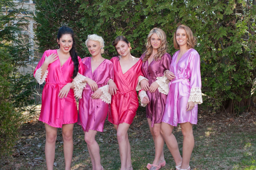 Hot Pink, Raspberry and Marsala Luxurious Silk Lace Robes