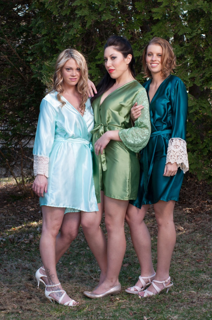 Mint, Green and Teal Luxurious Silk Lace Robes