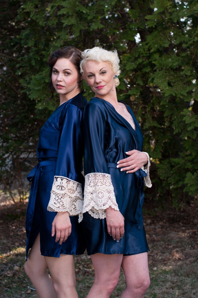 Navy Blue Luxurious Silk Lace Robes