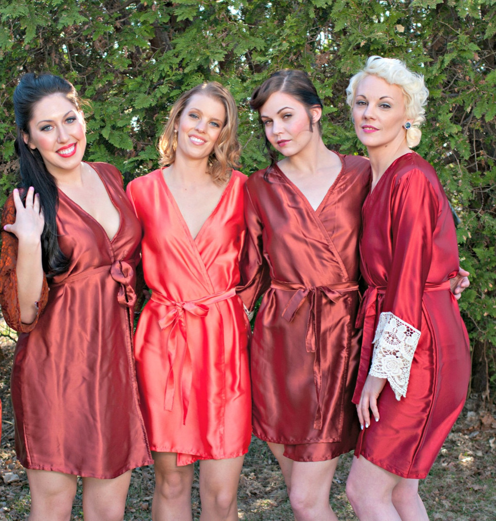 Red, Rust and Copper Luxurious Silk Lace Robes