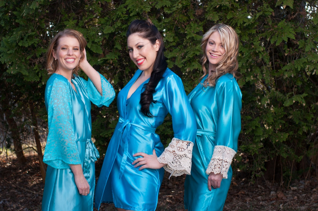 Shades of Blue Luxurious Silk Lace Robes