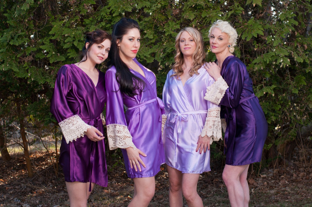 Shades of Purple Luxurious Silk Lace Robes