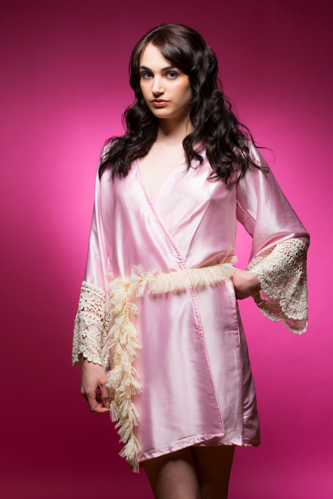 Baby Pink Silk Lace Bridesmaids Robe