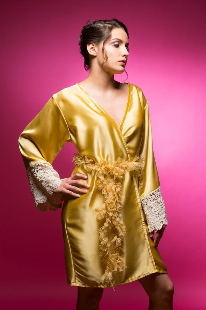 Gold Silk Lace Bridesmaids Robe