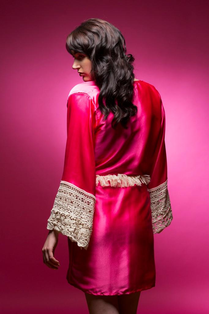 Hot Pink Silk Lace Bridesmaids Robe