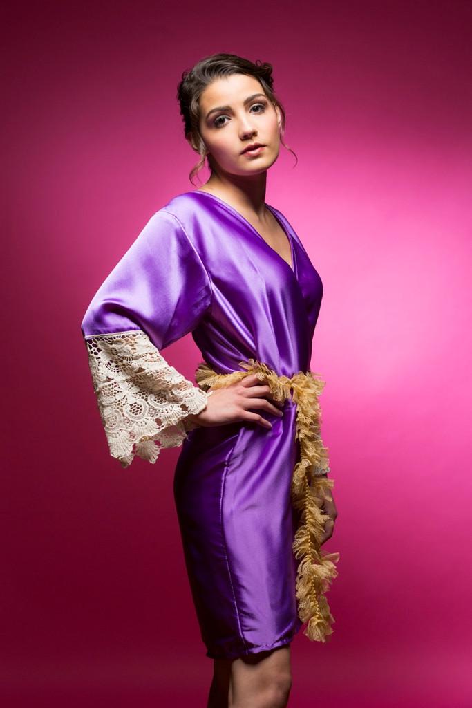 Lavender Silk Lace Bridesmaids Robe