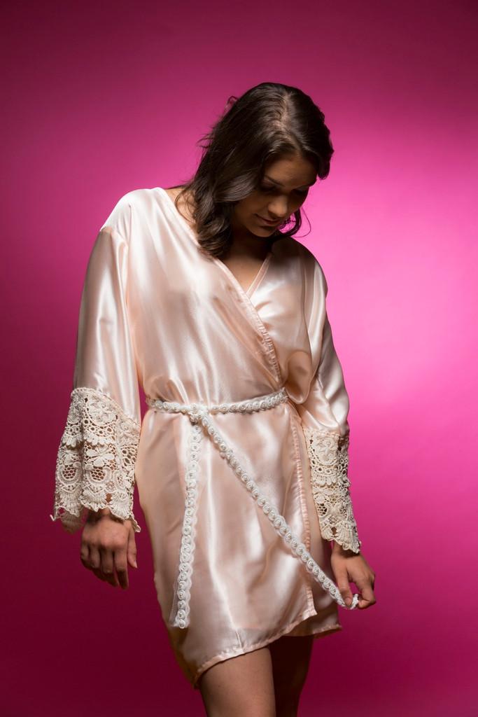 Light Peach Silk Lace Bridesmaids Robe