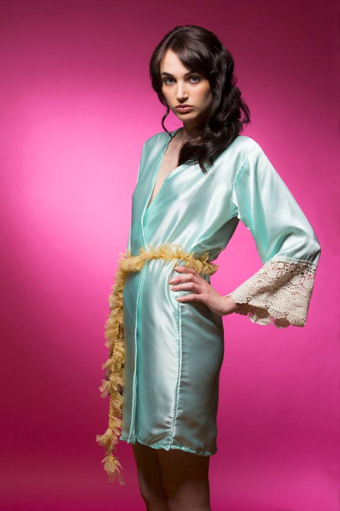 Mint Silk Lace Bridesmaids Robe