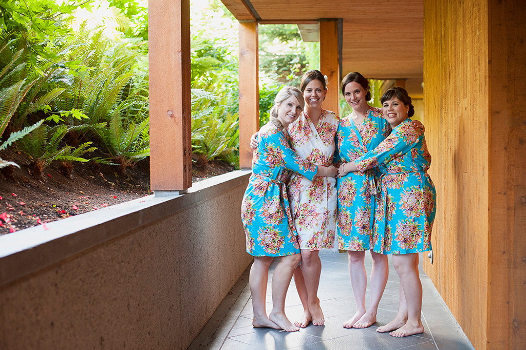 Blue Floral Posy Robes for bridesmaids   Getting Ready Bridal Robes
